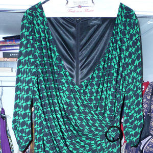 Tahari Arthur S Levine dress black green XL lined